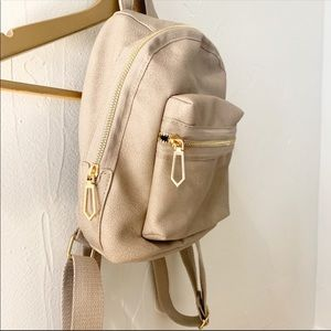 Taupe and Gold Accent Mini Backpack